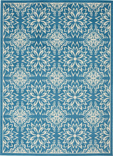 Transitional Floral Ivory/Blue Area Rug
