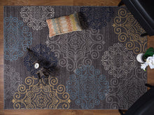 Gray Floral Area Rug Non-Slip/ No Skid