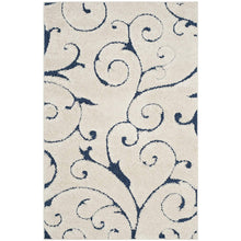 Premium Swirl Thick Plush Cream Blue Shag Rug