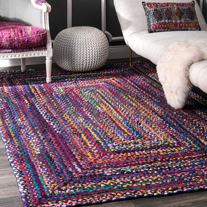 Hand Braided Blue Soft Area Rugs
