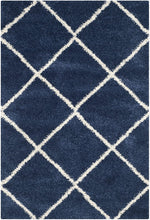 Diamond Trellis Navy/Ivory Soft Plush Shag Area Rug 2-inch Thick