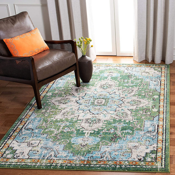 Boho Chic Medallion Distressed Soft Area Rug, Green / Turquoise