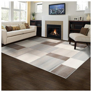 Rectangular Boxes Pattern Ivory Beige Area Rug