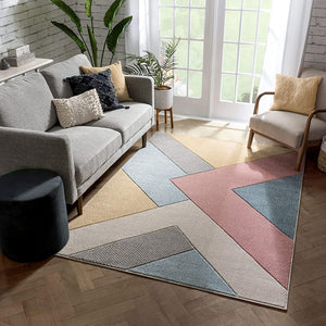 Multi Modern Geometric Triangle Pattern Area Rug