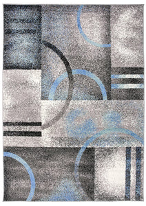 Abstract Gray Blue Ivory Circles Area Rug