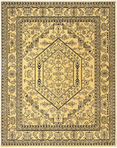 Oriental Vintage Distressed Medallion Gold/Black Soft Area Rug