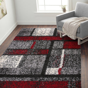 Geometric Pattern Red Gray Cozy Shag Area Rugs