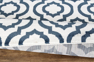 Trellis Design Ivory/Teal  Area Rugs