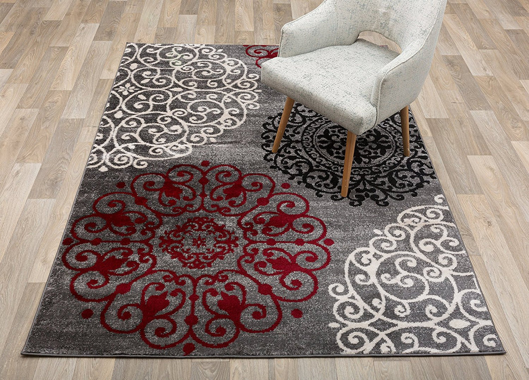 Floral Gray White Red Area Rugs