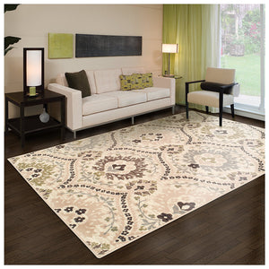 Beautiful Floral Beige Area Rug