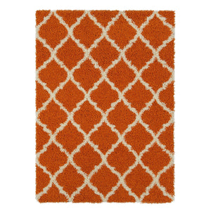 Orange Soft White Shag Area Rugs