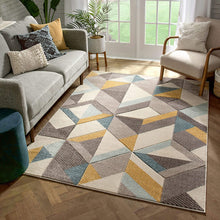 Blue Gold Boxes Triangles Pattern Area Rug
