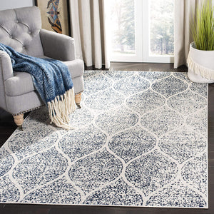 Geometric Trellis Distressed Cream Royal Blue Soft Area Rug