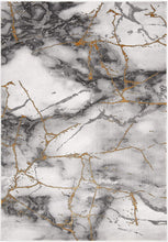 Modern Abstract Area Rug,  Grey/Gold