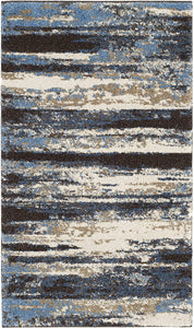 Cream and Blue Modern Abstract Area Rug