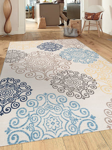 Cream Floral Area Rug Non-Slip/ No Skid