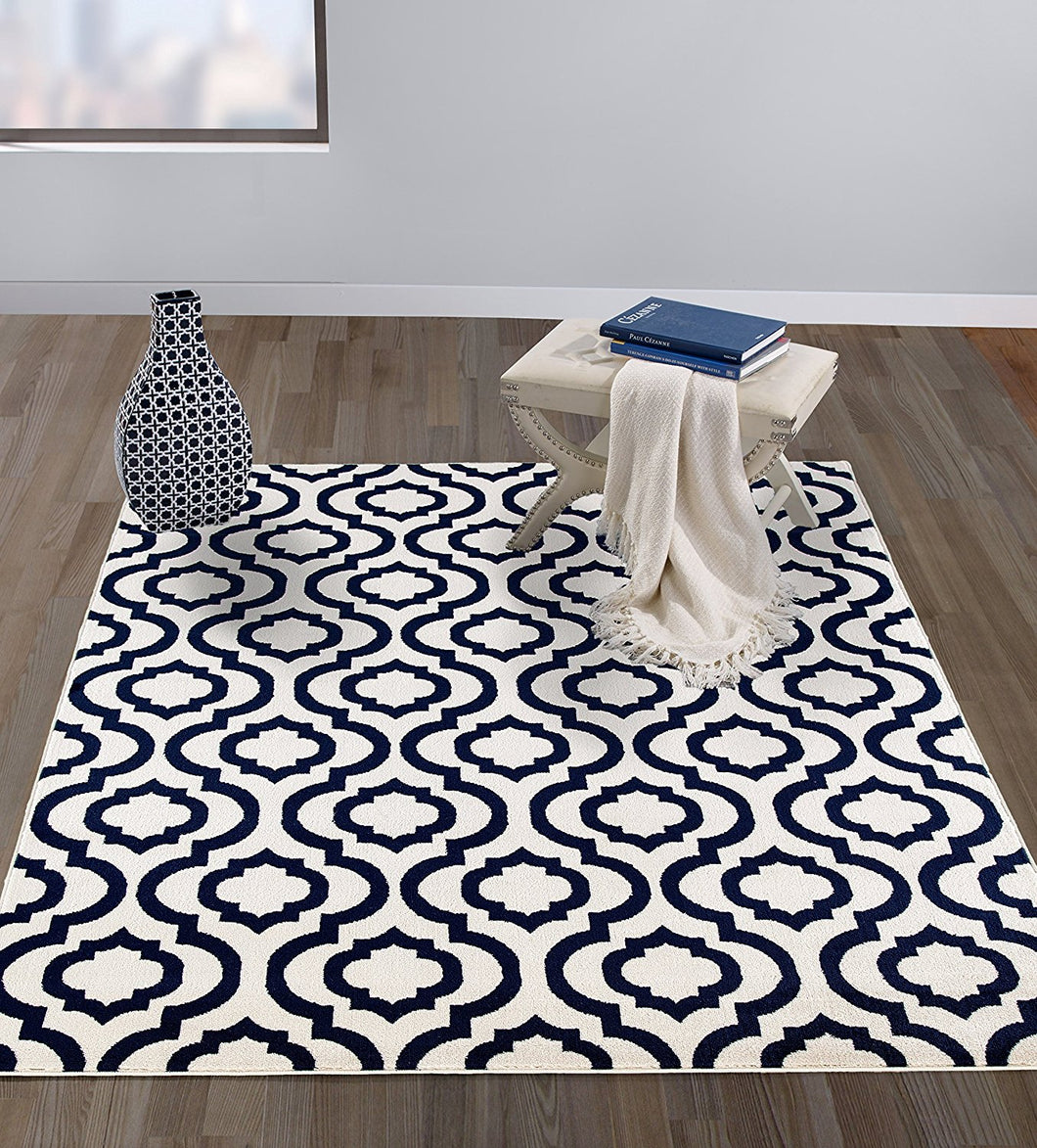 Trellis Design Ivory/Navy Area Rugs