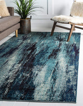 Bright Abstract Blue Soft Area Rug