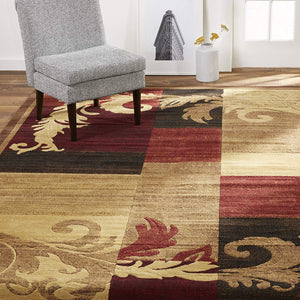 Contemporary Floral Brown Red Soft Area Rugs