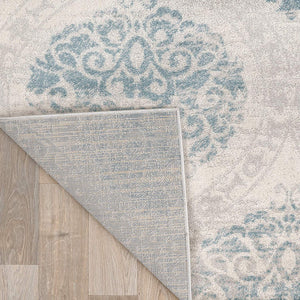 Floral Damask Ivory Gray Light Blue Area Rug