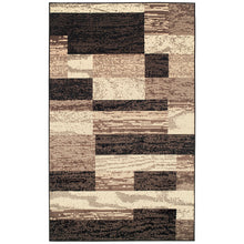 Geometric Brick Design Chocolate Brown Area Rug