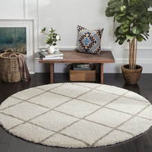 Diamond Trellis Ivory/Beige Soft Plush Shag Area Rug 2-inch Thick