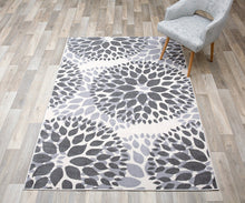 Floral Gray/Grey Off-white Area Rug