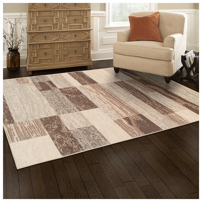 Geometric Brick Design Slate Area Rug