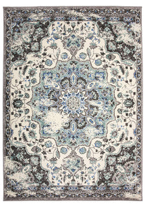 Traditional Distressed Ivory Gray Area Rug