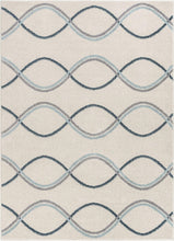 Stripes Solid Geometric Ivory Blue Grey Area Rug