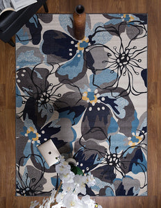 Blue Gray Ivory Floral Area Rug Non Slip/ No Skid - Low Pile