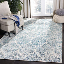 Geometric Trellis Distressed Cream/Turquoise Soft Area Rug