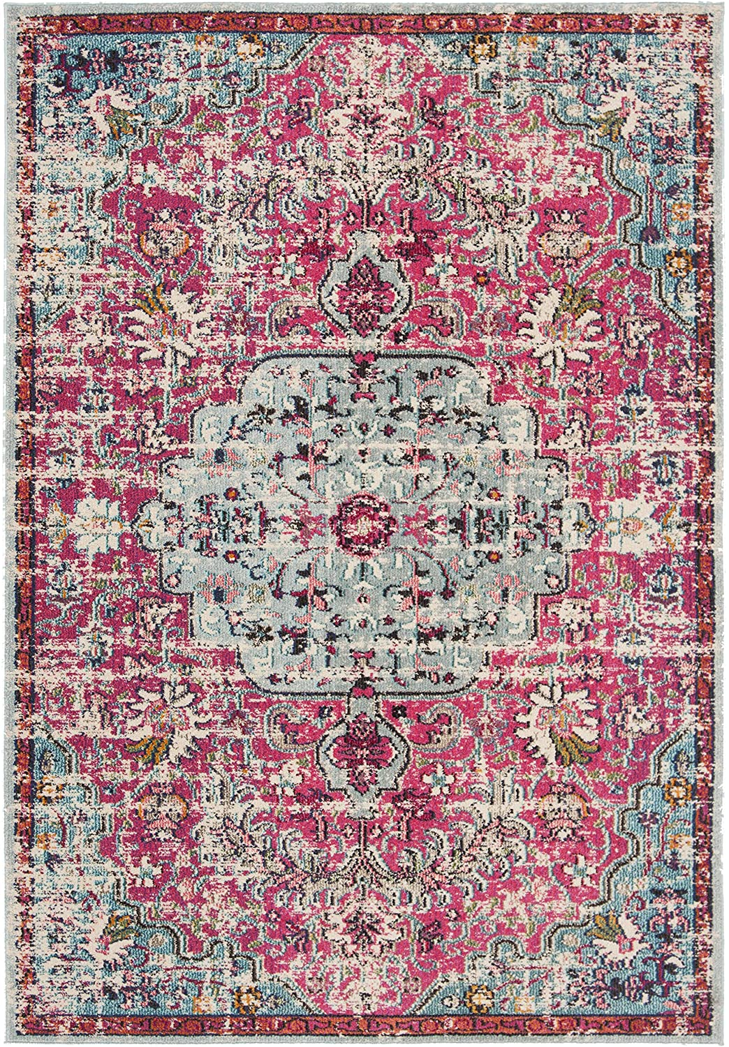 Boho Chic Vintage Medallion Distressed Runner,  Fuchsia/Teal