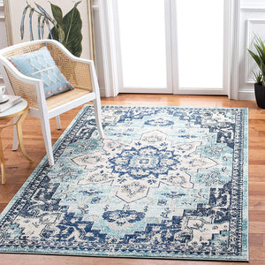 Boho Chic Medallion Distressed Soft Area Rug, Teal / Navy