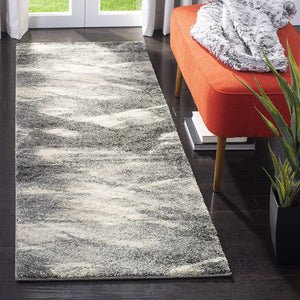 Modern Abstract Grey and Ivory Area Rug