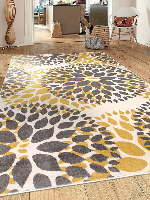 Floral Gray/Grey Yellow Area Rug