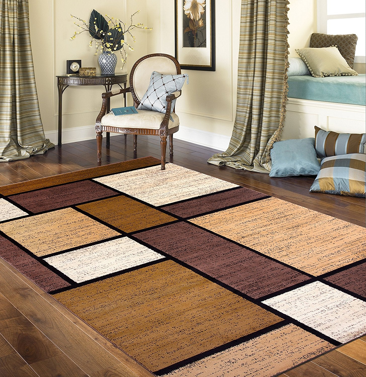 Contemporary Box Pattern Modern Brown Tan White Area Rug Modern Rugs And Decor