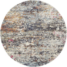 Modern Contemporary Abstract Area Rug,  Round, Black/Gold