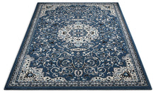 Deep Blue Ivory Traditional Persian Area Rugs