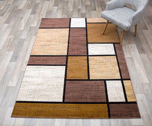 Contemporary Box Pattern Modern Brown Tan White Area Rug