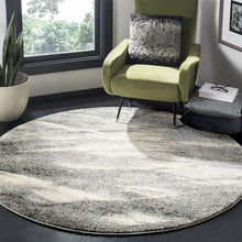 Modern Abstract Grey and Ivory Round Area Rug