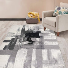 Abstract Black Gray Ivory Area Rug