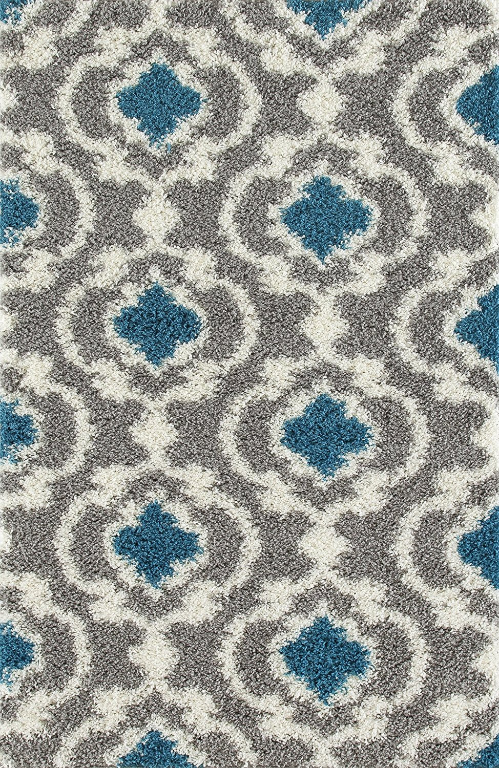 Gray Turquoise Blue Shag Area Rug
