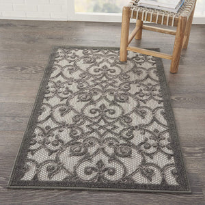 Floral Grey Charcoal Indoor/Outdoor Area Rug