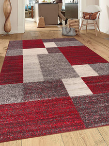 Box Pattern Red Gray Area Rug Non-Slip Non Skid