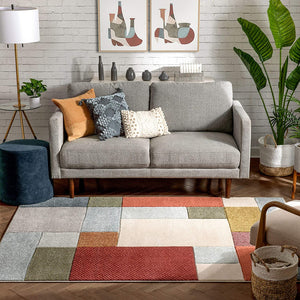 Multi-color Modern Geometric Boxes Pattern Area Rug