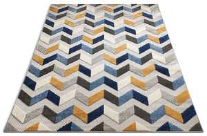 Mustard Yellow Blue Gray High Traffic Stain Resistant Chevron  Indoor Outdoor Area Rug