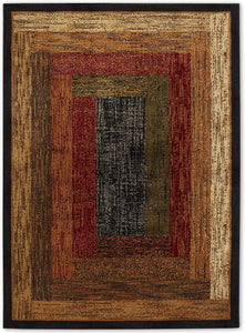 Geometric Bordered Black Brown Red Soft Area Rugs - Multiple Sizes