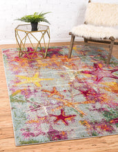 Coastal Modern Bright Colors Multi/Gray Starfish Soft Area Rug