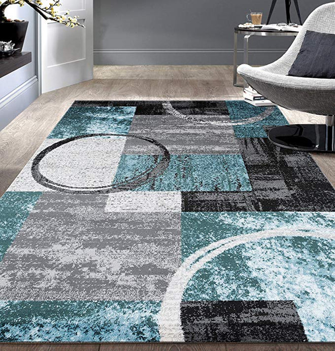 Contemporary Abstract Blue Gray Area Rugs